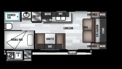 2019 Wildwood X-Lite 19DBXL Floor Plan Img
