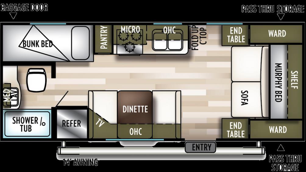 2019 Wildwood X-Lite 201BHXL Floor Plan Img