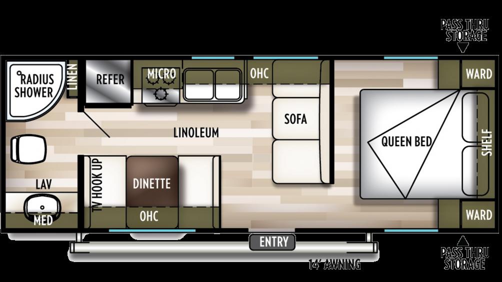 2019 Wildwood X-Lite 241QBXL Floor Plan Img