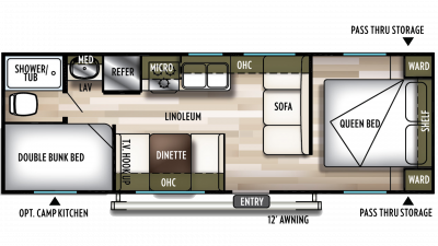 2019 Wildwood X-Lite 261BHXL Floor Plan Img