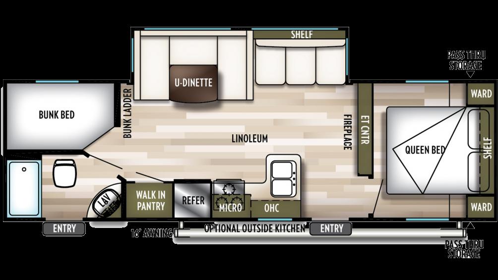 2019 Wildwood X-Lite 263BHXL Floor Plan Img