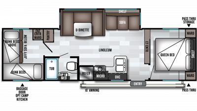 2019 Wildwood X-Lite 273QBXL Floor Plan Img