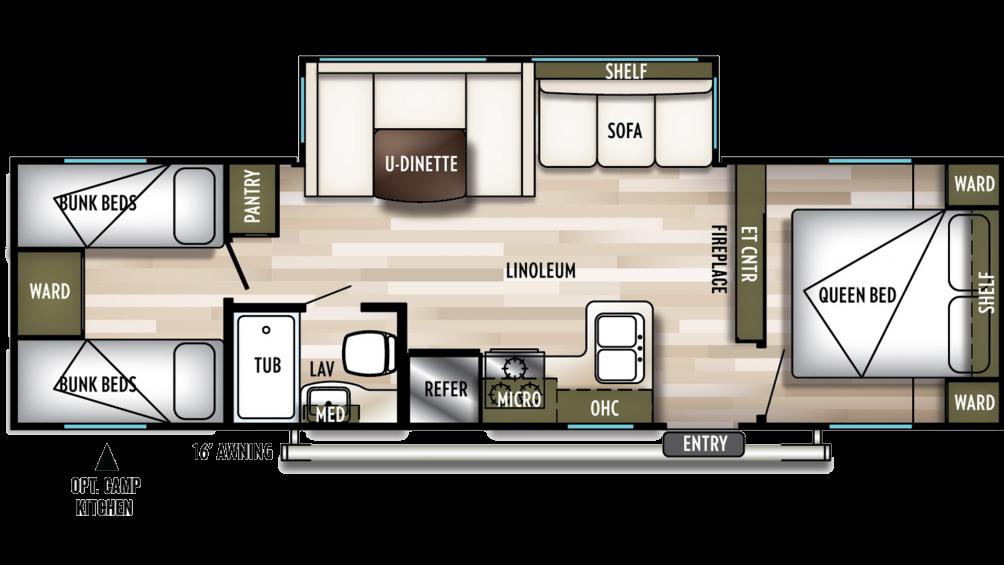 2019 Wildwood X-Lite 282QBXL Floor Plan Img