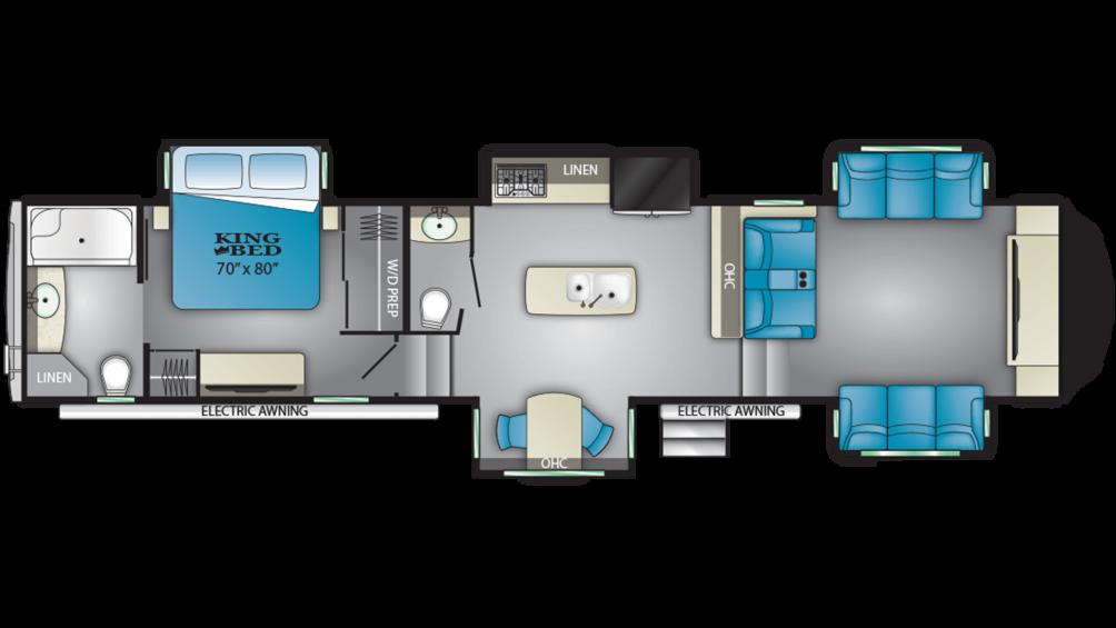 2020 Bighorn 3950FL Floor Plan Img