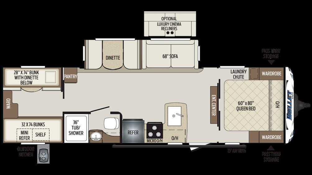 2020 Bullet 287QBS Floor Plan Img