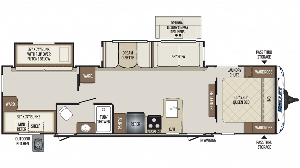 2020 Bullet 308BHS Floor Plan Img