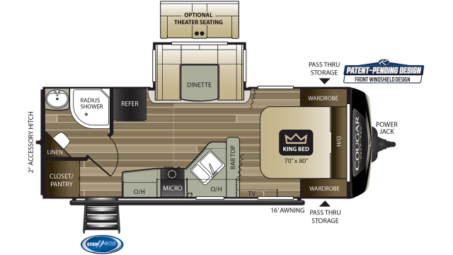 2020 Cougar Half Ton 22RBS Floor Plan