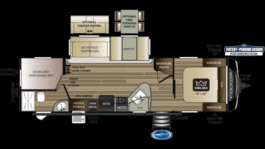 2020 Cougar Half Ton 29BHS Floor Plan Img