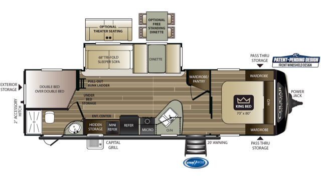 2020 Cougar Half Ton 29BHS Floor Plan