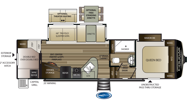 2020 Cougar Half Ton 29RDB Floor Plan