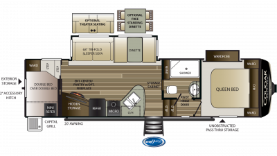 2020 Cougar Half Ton 29RDB Floor Plan Img