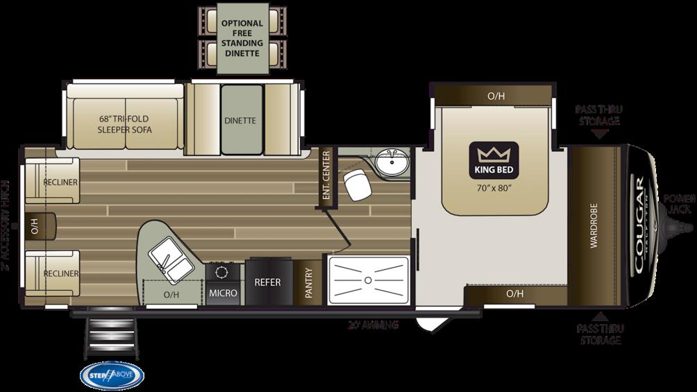 2020 Cougar Half Ton 29RLD Floor Plan Img