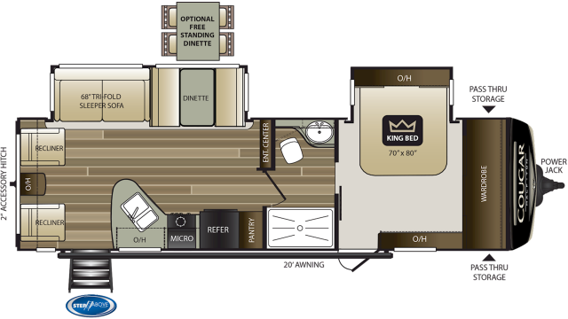 2020 Cougar Half Ton 29RLD Floor Plan