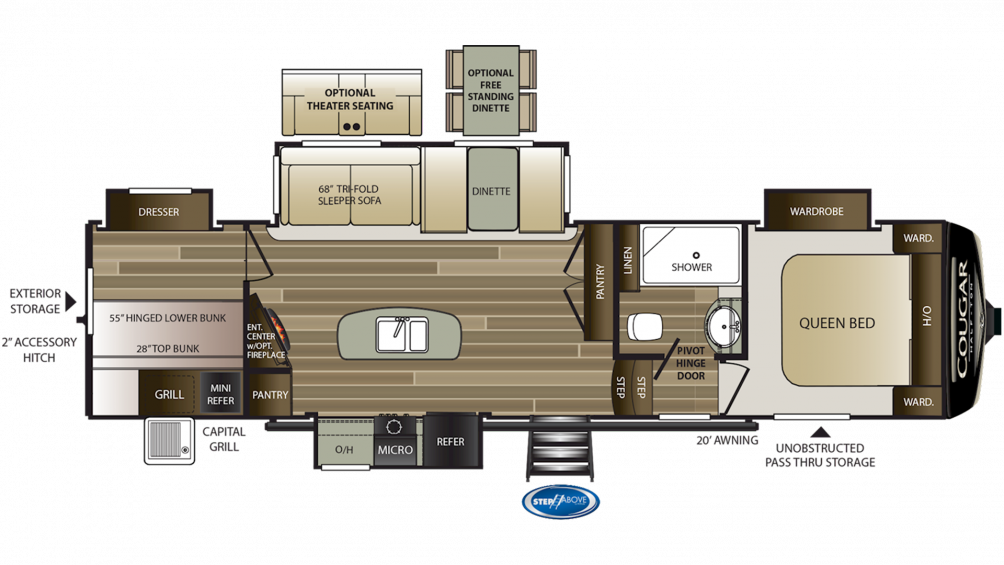 2020 Cougar Half Ton 32DBH Floor Plan Img