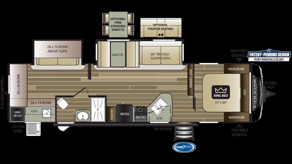 2020 Cougar Half Ton 32RDB Floor Plan Img