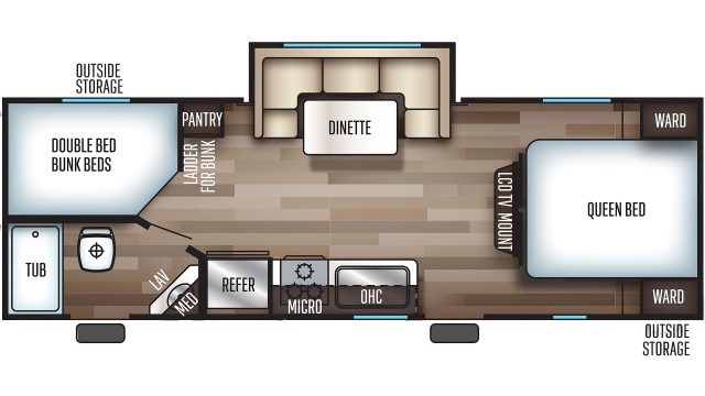 2020 Grey Wolf 23DBH Floor Plan