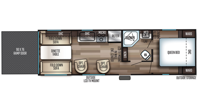 2020 Grey Wolf 25RRT Floor Plan