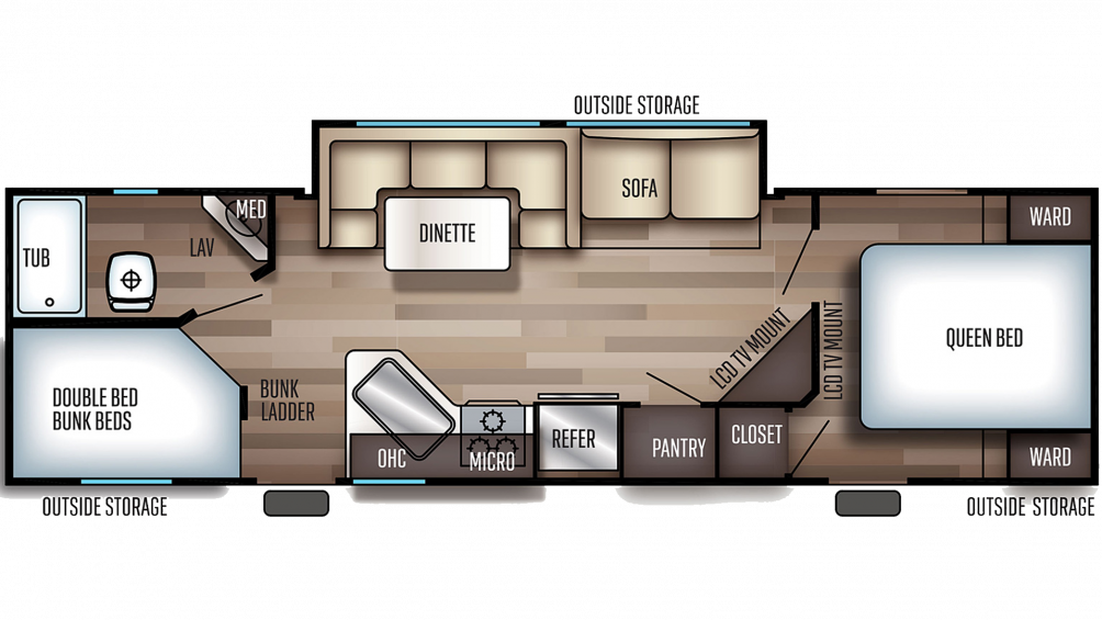2020 Grey Wolf 27DBH Floor Plan Img