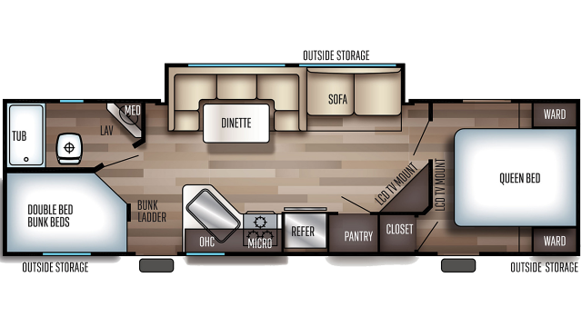 2020 Grey Wolf 27DBH Floor Plan
