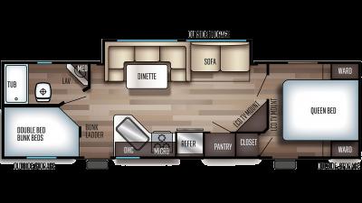 2020 Grey Wolf 27DBH Floor Plan Img