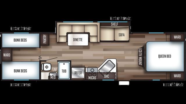 2020 Grey Wolf 29BH Floor Plan