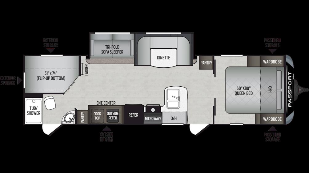 2020 Passport GT Series 2950BH Floor Plan Img