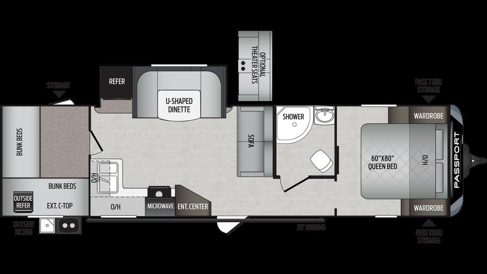 2020 Passport GT Series 3100QB Floor Plan Img