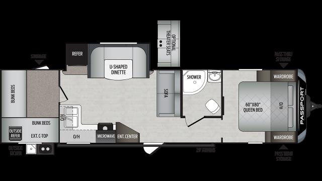 2020 Passport GT Series 3100QB Floor Plan