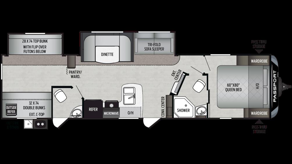 2020 Passport GT Series 3351BH Floor Plan Img