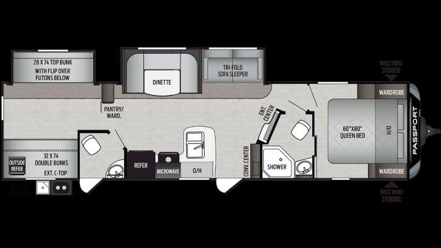 2020 Passport GT Series 3351BH Floor Plan