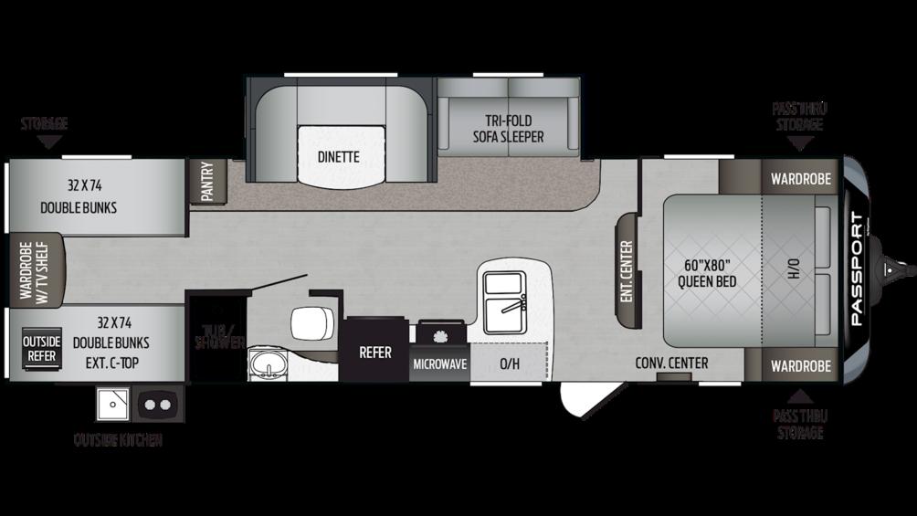 2020 Passport SL Series 292BH Floor Plan Img