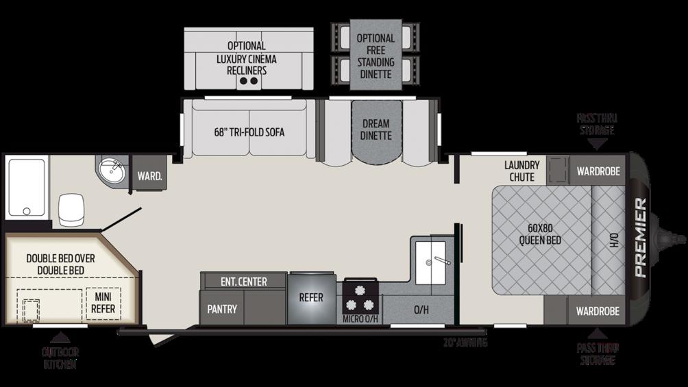 2020 Premier 29BHPR Floor Plan Img