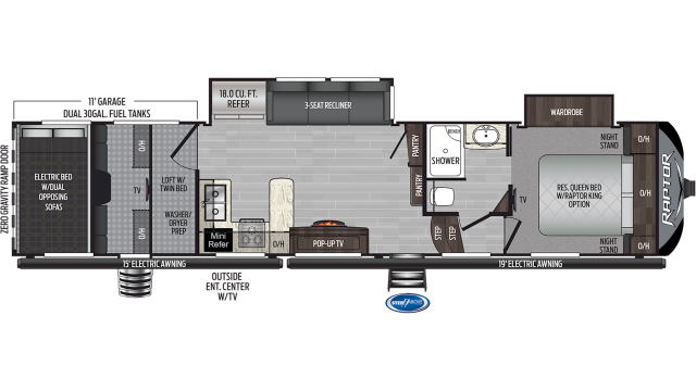 2020 Raptor 351 Floor Plan
