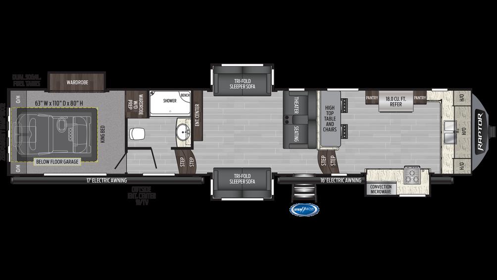 Raptor 427 Floor Plan - 2020