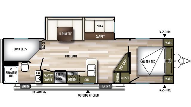 2020 Wildwood 26DBUD Floor Plan