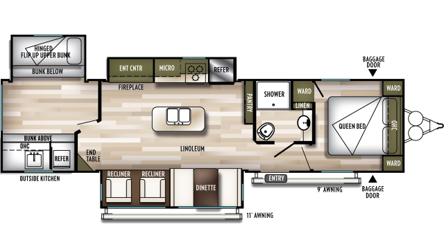 2020 Wildwood 32BHT Floor Plan