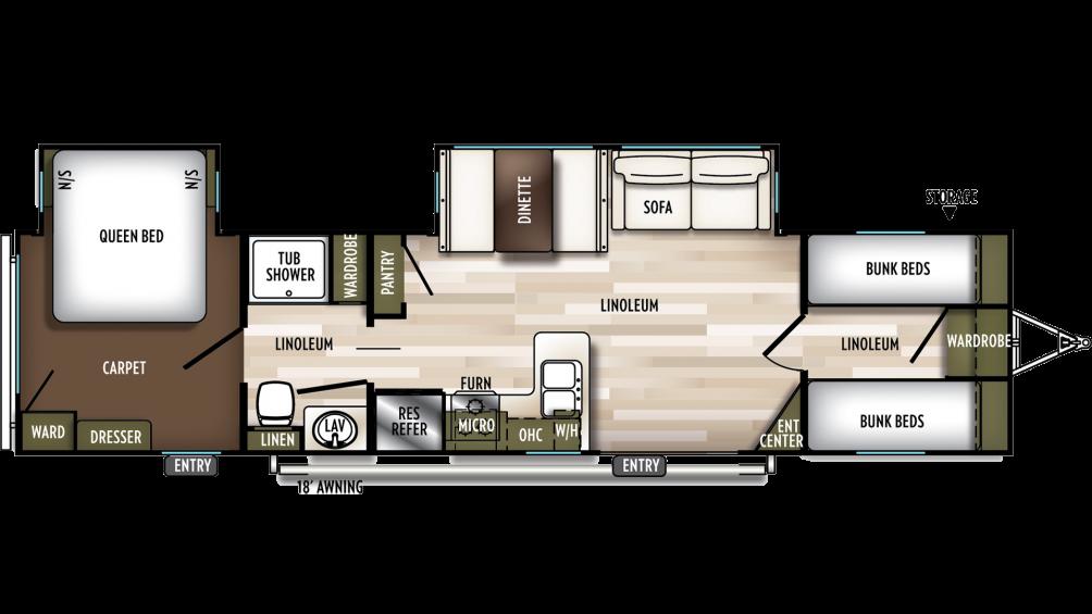 2020 Wildwood 36BHDS Floor Plan Img