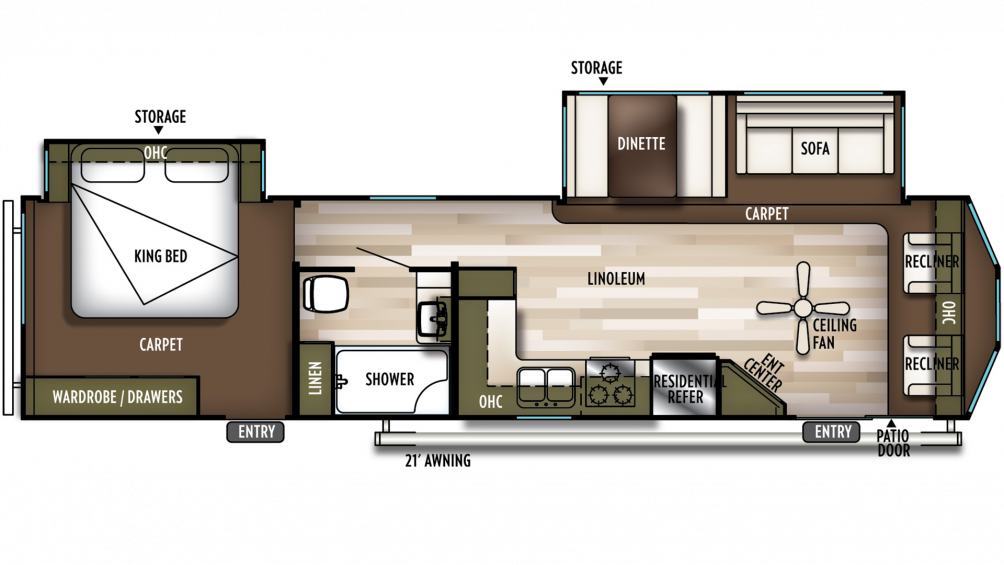 2020 Wildwood DLX 353FLFB Floor Plan Img