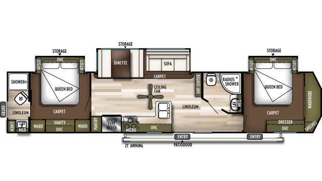 2020 Wildwood DLX 4002Q Floor Plan