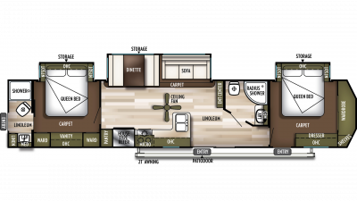 2020 Wildwood DLX 4002Q Floor Plan Img