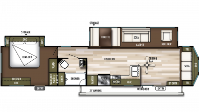 2020 Wildwood DLX 40FDEN Floor Plan Img
