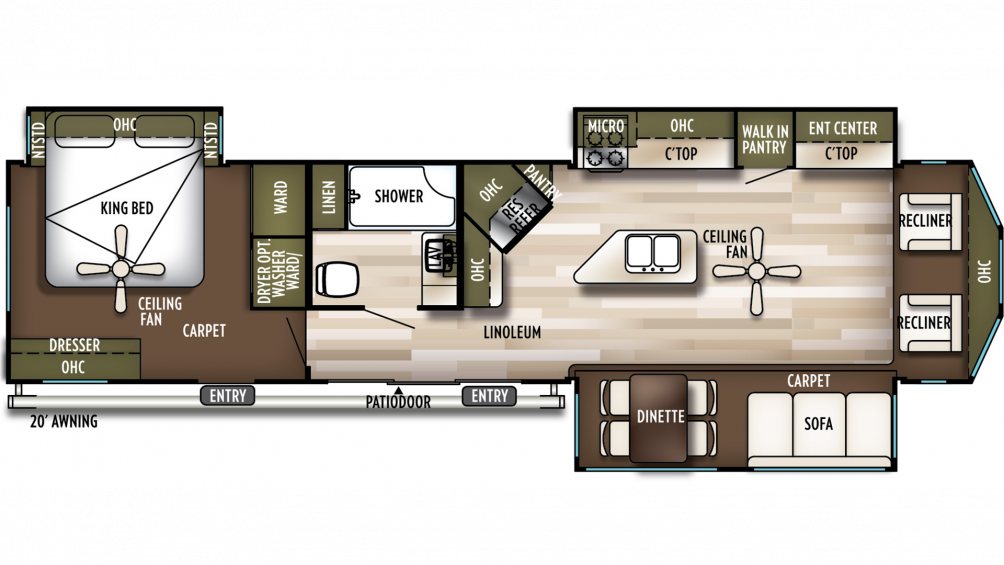 2020 Wildwood Lodge 393FLT Floor Plan Img