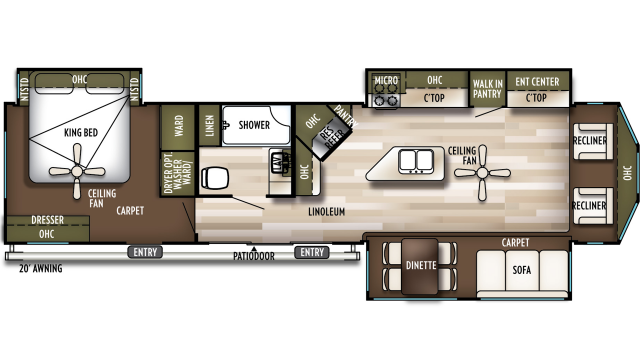 2020 Wildwood Lodge 393FLT Floor Plan