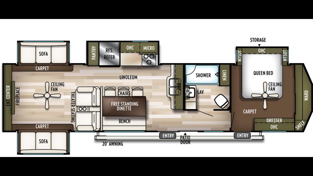 2020 Wildwood Lodge 395RET Floor Plan Img