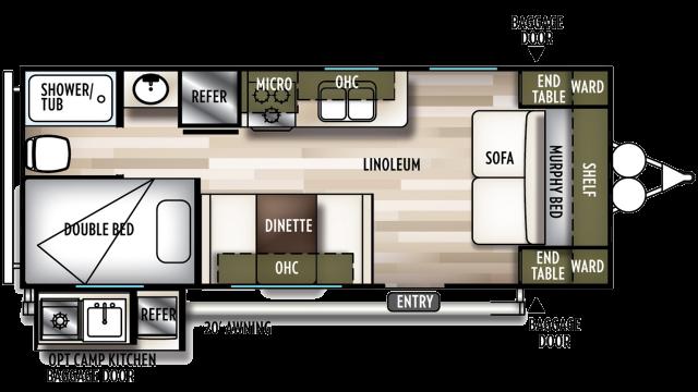 2020 Wildwood X-Lite 19DBXL Floor Plan