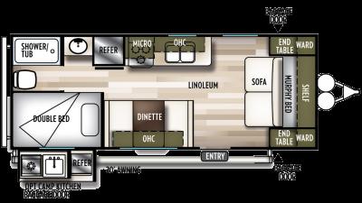 2020 Wildwood X-Lite 19DBXL Floor Plan Img