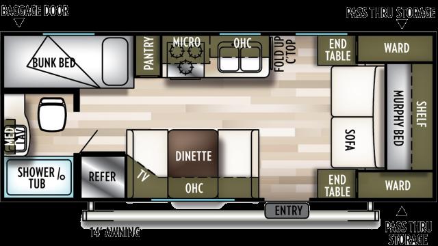 2020 Wildwood X-Lite 201BHXL Floor Plan