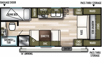 2020 Wildwood X-Lite 201BHXL Floor Plan Img