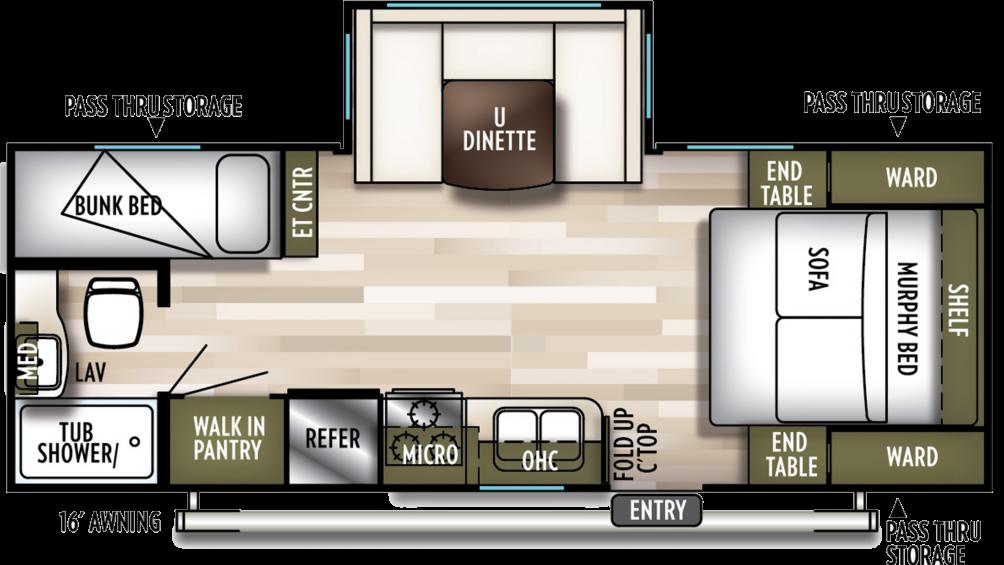 2020 Wildwood X-Lite 230BHXL Floor Plan Img