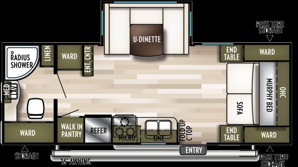 2020 Wildwood X-Lite 233RBXL Floor Plan Img